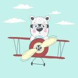 Bear fly plain Royalty Free Stock Image
