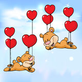 Bear flying with balloons in the shape of heart Royalty Free Stock Photos
