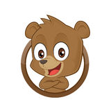 Bear with folded hands. Clipart picture of a bear cartoon character with folded hands Royalty Free Stock Photo