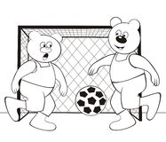 Bear-football - coloring book Stock Image