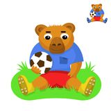 Bear football player with the ball. Sitting on the green grass Royalty Free Stock Images