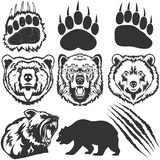 Bear, footprint with claw scratches vector Stock Images