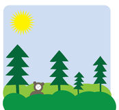 Bear in the forest. Vector illustration of a happy bear in a forest Royalty Free Stock Photography
