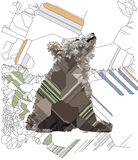 Bear. In the forest under a tree. Drawing Stock Image