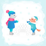 Bear and fox build the fortress of snow in the woods. Vector illustration. Perfect for design Christmas card Stock Photo