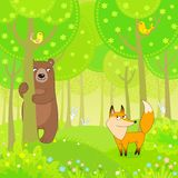 The bear, fox and hares play at hide-and-seek in the wood Stock Image