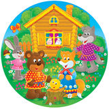 """Bear, fox, rabbit and wolf. High resolution illustration of the folktale """"Roly-Poly Stock Photos"""