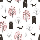 Bear, fox and trees seamless pattern on white background. Royalty Free Stock Image