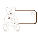 Bear with frame. Sepia illustration Stock Images