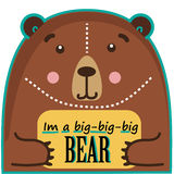 Bear funny cute animal with text box Stock Image