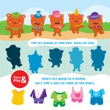 Bear game. learn and play. Task to find objects for training of logical thinking. Find shadow and suit of each bear. Connect lines to match item. Vector Royalty Free Stock Photo
