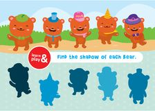 Bear game. learn and play. Task to find objects for training of logical thinking. Find shadow and suit of each bear. Connect lines to match item. Vector Stock Image