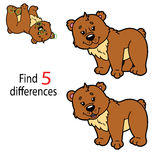 Bear game. Vector illustration of kids puzzle educational game Find differences for preschool children Royalty Free Stock Images