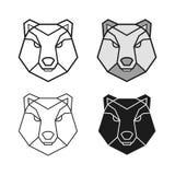 Bear geometric head vector set Stock Photos