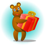 Bear with a gift Royalty Free Stock Photography