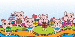 Bear gift banner Stock Image
