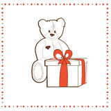 Bear with gift box Royalty Free Stock Photo