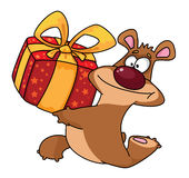 Bear and gift box Royalty Free Stock Image