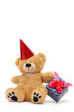 Bear with gift box. Teddy bear with gift box isolated on white Stock Images