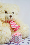 Bear with a gift box Royalty Free Stock Photos
