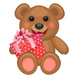 Bear and gift box Stock Image