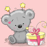 Bear with gift. Greeting card cute Teddy Bear with gift