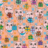 Bear gift lucky star seamless pattern Stock Photo
