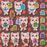 Bear gift sticker seamless pattern Stock Photo
