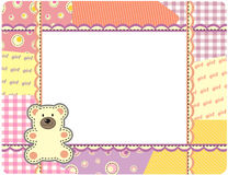 Bear girl. The beautiful nursery frame for text with bear in the manner embroider. Vector illustration Stock Photography