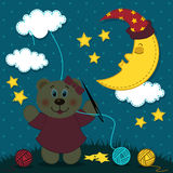 Bear girl embroiders the night sky Stock Photography
