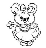 Bear girl flower coloring pages Royalty Free Stock Images