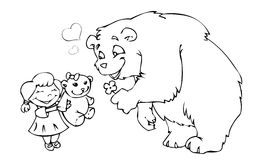 Bear girl and teddy bear. In line art royalty free illustration
