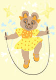 Bear girl in yellow dress Royalty Free Stock Photography