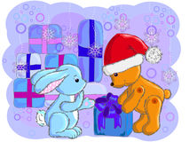 The bear gives a gift to the hare for new year Stock Photography