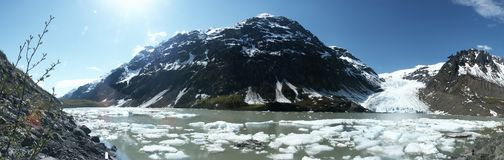 Bear Glacier. With Glacier Lake from Stewart-Hyder Road - British Columbia (Panorama royalty free stock photos