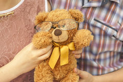 Bear with Glasses. Clever bear. Teddy Bear with Glasses on nature Stock Image