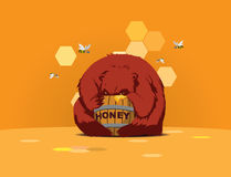 Bear glutton. Bear eats honey from barrel against backdrop of hundred in hive, bees fly near Stock Photos