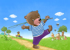 Bear go fishing. Funny happy bear-sailor go fishing with a fishing rod Stock Images