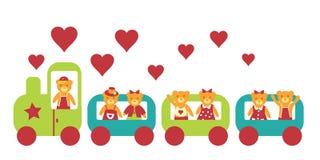 The Bear go to locomotive. stock photo