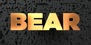 Bear - Gold text on black background - 3D rendered royalty free stock picture Royalty Free Stock Images
