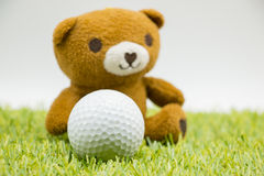 Bear and Golf with love letter on white background Stock Image