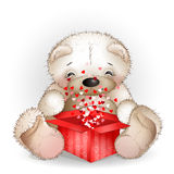 Bear got in a gift box with lots of hearts Royalty Free Stock Image