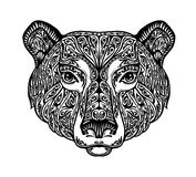 Bear, grizzly or animal painted tribal ethnic ornament. Hand drawn vector illustration with floral elements Stock Photography