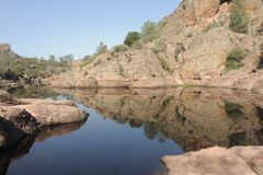 Bear Gulch Reservoir Reflection Royalty Free Stock Photo