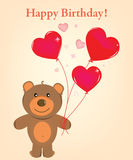 Bear happy. Happy birthday - Nice cart with bear Stock Photos