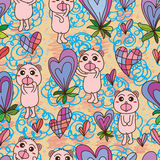 Bear happy love plant seamless pattern Royalty Free Stock Image