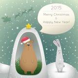 Bear and hare congratulate Stock Photo