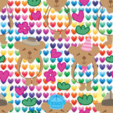 Bear hat colorful love seamless pattern Royalty Free Stock Photography