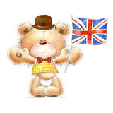 Cute Teddy bear with the  UK flag in the hat. Back. Bear in the hat with the flag Stock Photography