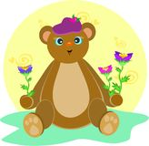 Bear with Hat and Flowers Royalty Free Stock Image